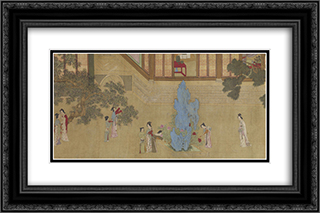 Spring Morning in the Han Palace (View D) 24x16 Black or Gold Ornate Framed and Double Matted Art Print by Qiu Ying