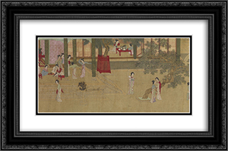 Spring Morning in the Han Palace (View E) 24x16 Black or Gold Ornate Framed and Double Matted Art Print by Qiu Ying