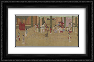 Spring Morning in the Han Palace (View F) 24x16 Black or Gold Ornate Framed and Double Matted Art Print by Qiu Ying