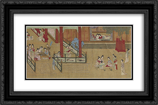 Spring Morning in the Han Palace (View G) 24x16 Black or Gold Ornate Framed and Double Matted Art Print by Qiu Ying