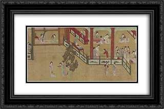 Spring Morning in the Han Palace (View H) 24x16 Black or Gold Ornate Framed and Double Matted Art Print by Qiu Ying