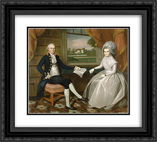 Oliver and Abigail Wolcott Ellsworth 22x20 Black or Gold Ornate Framed and Double Matted Art Print by Ralph Earl