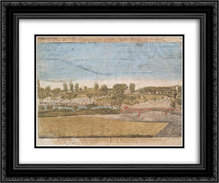 Plate III. The engagement at the North Bridge in Concord 24x20 Black or Gold Ornate Framed and Double Matted Art Print by Ralph Earl