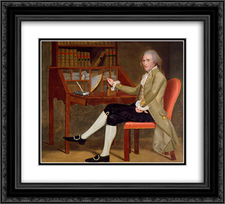 Portrait of David Baldwin 22x20 Black or Gold Ornate Framed and Double Matted Art Print by Ralph Earl
