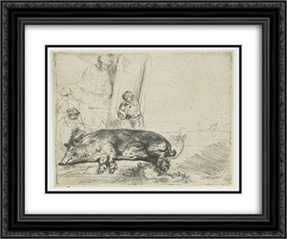 The hog 24x20 Black or Gold Ornate Framed and Double Matted Art Print by Rembrandt
