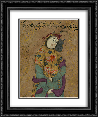 A Lady with a Fan (detail) 20x24 Black or Gold Ornate Framed and Double Matted Art Print by Reza Abbasi