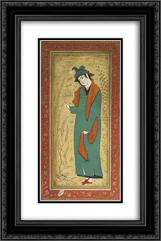 Cup-bearer 16x24 Black or Gold Ornate Framed and Double Matted Art Print by Reza Abbasi