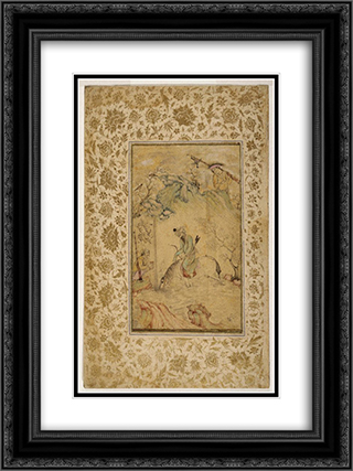 Hunters at a Stream 18x24 Black or Gold Ornate Framed and Double Matted Art Print by Reza Abbasi