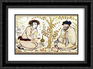 Princely Youth and Dervish (attributed) 24x18 Black or Gold Ornate Framed and Double Matted Art Print by Reza Abbasi