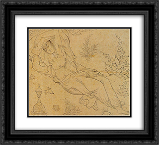Reclining woman 22x20 Black or Gold Ornate Framed and Double Matted Art Print by Reza Abbasi