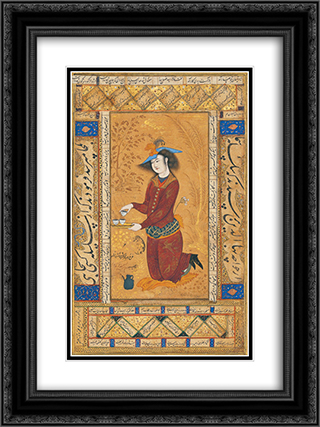 Saki 18x24 Black or Gold Ornate Framed and Double Matted Art Print by Reza Abbasi