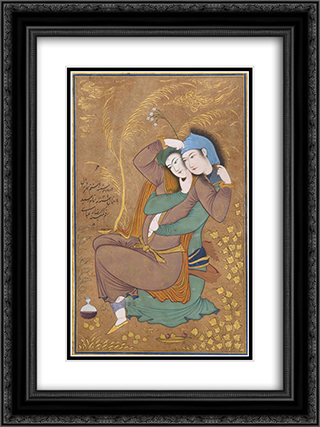 Two Lovers 18x24 Black or Gold Ornate Framed and Double Matted Art Print by Reza Abbasi