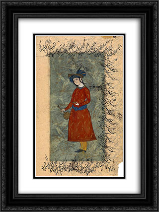 Young man with a bottle and a wine-cup 18x24 Black or Gold Ornate Framed and Double Matted Art Print by Reza Abbasi