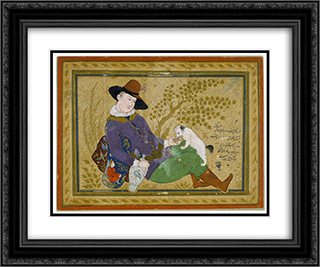 Young Portuguese 24x20 Black or Gold Ornate Framed and Double Matted Art Print by Reza Abbasi