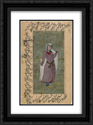 Young woman in a white wrap 18x24 Black or Gold Ornate Framed and Double Matted Art Print by Reza Abbasi