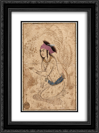 Youth kneeling and holding out a wine-cup 18x24 Black or Gold Ornate Framed and Double Matted Art Print by Reza Abbasi