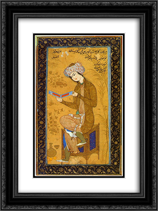 Youth reading 18x24 Black or Gold Ornate Framed and Double Matted Art Print by Reza Abbasi