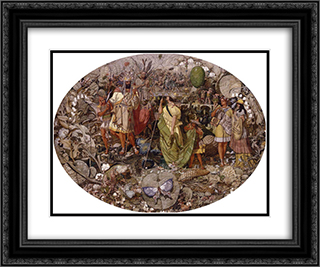 Contradiction. Oberon and Titania 24x20 Black or Gold Ornate Framed and Double Matted Art Print by Richard Dadd