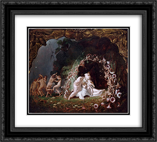 Titania Sleeping 22x20 Black or Gold Ornate Framed and Double Matted Art Print by Richard Dadd