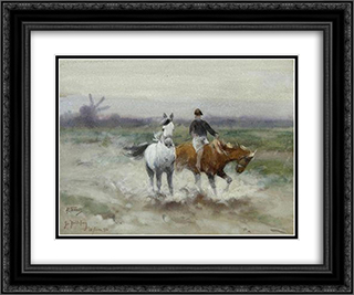 A horseback ride 24x20 Black or Gold Ornate Framed and Double Matted Art Print by Richard Friese