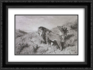 Lowenpaar in der Savanne 24x18 Black or Gold Ornate Framed and Double Matted Art Print by Richard Friese