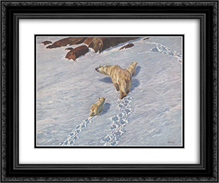 Polar bear family 24x20 Black or Gold Ornate Framed and Double Matted Art Print by Richard Friese