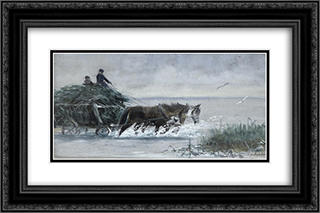 Reed harvest 24x16 Black or Gold Ornate Framed and Double Matted Art Print by Richard Friese