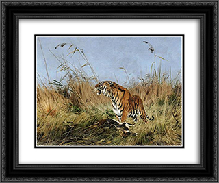 The Tiger 24x20 Black or Gold Ornate Framed and Double Matted Art Print by Richard Friese