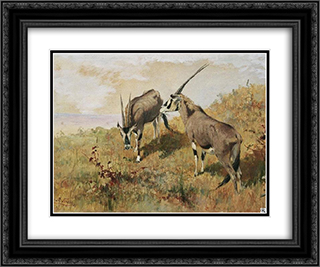 Zwei Antilopen 24x20 Black or Gold Ornate Framed and Double Matted Art Print by Richard Friese