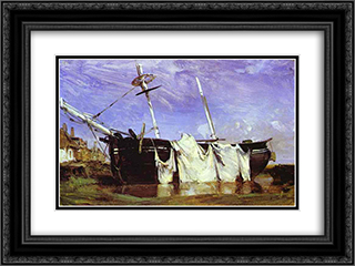 A Boat Beached in a Port at Low Tide 24x18 Black or Gold Ornate Framed and Double Matted Art Print by Richard Parkes Bonington