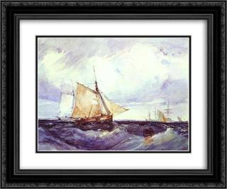 A Cutter and other Ships in a Strong Breeze 24x20 Black or Gold Ornate Framed and Double Matted Art Print by Richard Parkes Bonington