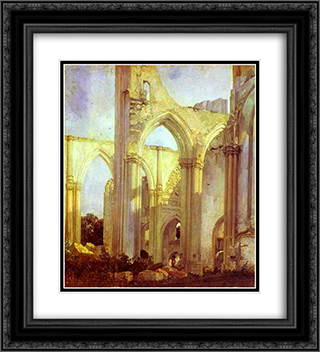 Abbey of St. Berlin, near St. Omer 20x22 Black or Gold Ornate Framed and Double Matted Art Print by Richard Parkes Bonington