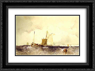 At the English Coast 24x18 Black or Gold Ornate Framed and Double Matted Art Print by Richard Parkes Bonington