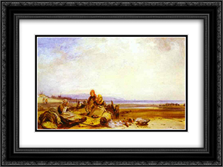 Beach in Normandy 24x18 Black or Gold Ornate Framed and Double Matted Art Print by Richard Parkes Bonington