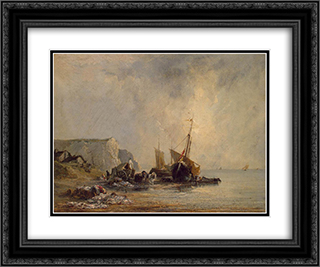 Boats by the Normandy Shore 24x20 Black or Gold Ornate Framed and Double Matted Art Print by Richard Parkes Bonington