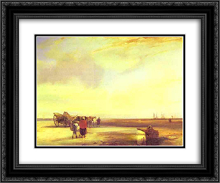 Boulogne Sands 24x20 Black or Gold Ornate Framed and Double Matted Art Print by Richard Parkes Bonington