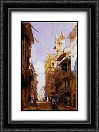 Corso Sant'Anastasia, Verona, with the Palace of Prince Maffei 18x24 Black or Gold Ornate Framed and Double Matted Art Print by Richard Parkes Bonington