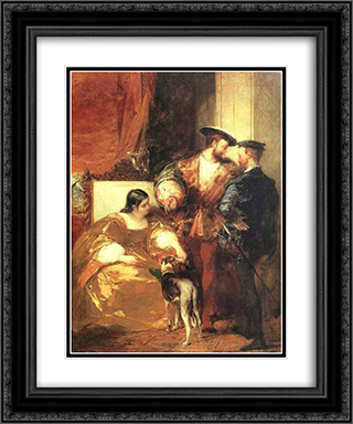 Francis I and the Duchess of Etampes 20x24 Black or Gold Ornate Framed and Double Matted Art Print by Richard Parkes Bonington