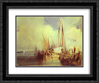 French River Scene with Fishing Boats 24x20 Black or Gold Ornate Framed and Double Matted Art Print by Richard Parkes Bonington