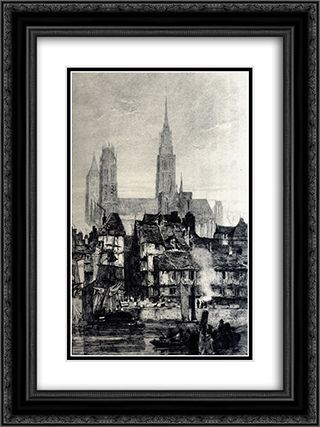 Front view of the Cathedral 18x24 Black or Gold Ornate Framed and Double Matted Art Print by Richard Parkes Bonington
