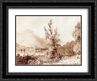 Lake Brientz and Interlaken 24x20 Black or Gold Ornate Framed and Double Matted Art Print by Richard Parkes Bonington
