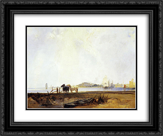 Landscape near Quilleboeuf 24x20 Black or Gold Ornate Framed and Double Matted Art Print by Richard Parkes Bonington