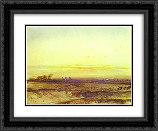 Landscape with Harvesters at Sunset 24x20 Black or Gold Ornate Framed and Double Matted Art Print by Richard Parkes Bonington