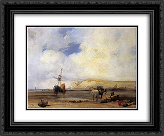 On the Coast of Picardy 24x20 Black or Gold Ornate Framed and Double Matted Art Print by Richard Parkes Bonington
