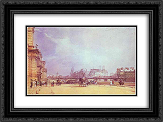Paris. Quai du Louvre. 24x18 Black or Gold Ornate Framed and Double Matted Art Print by Richard Parkes Bonington