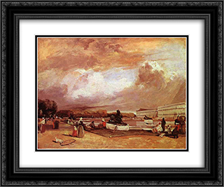 Parlerre d'eau a Versailles 24x20 Black or Gold Ornate Framed and Double Matted Art Print by Richard Parkes Bonington