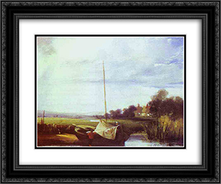 River Scene in France 24x20 Black or Gold Ornate Framed and Double Matted Art Print by Richard Parkes Bonington