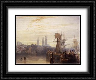 Rouen 24x20 Black or Gold Ornate Framed and Double Matted Art Print by Richard Parkes Bonington