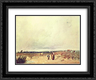 Scene in Normandy 24x20 Black or Gold Ornate Framed and Double Matted Art Print by Richard Parkes Bonington