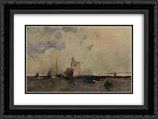 Seascape 24x18 Black or Gold Ornate Framed and Double Matted Art Print by Richard Parkes Bonington